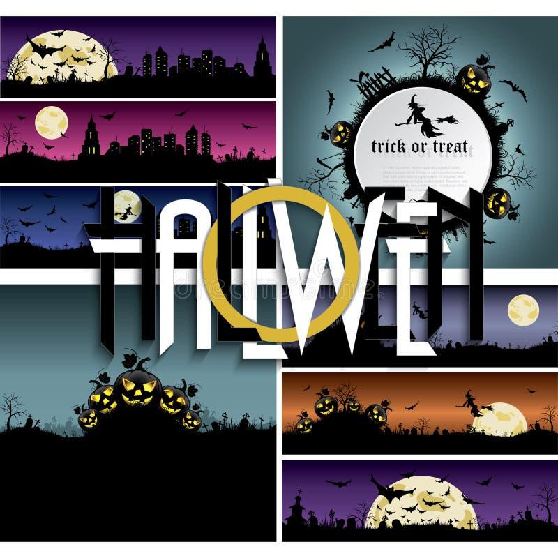 Ensemble de milieux et de bannières de Halloween illustration stock