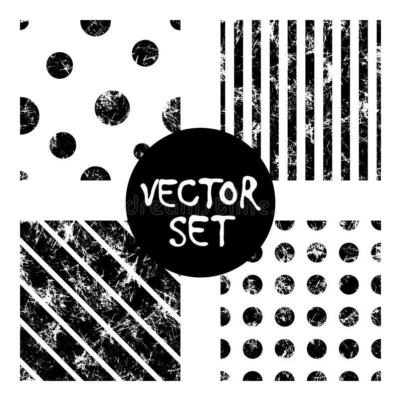 Ensemble de milieux noirs et blancs géométriques créatifs de modèles sans couture de vecteur avec des lignes, diagonale, cercles, illustration de vecteur