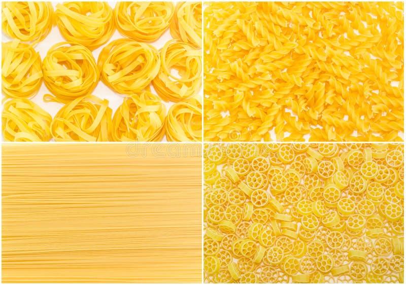 Ensemble de milieux plusieurs différentes variétés de pâtes crues images libres de droits