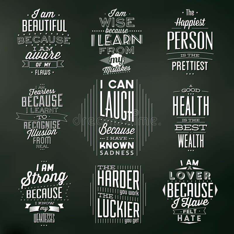 Ensemble de milieux typographiques de vintage/de citations de motivation illustration de vecteur