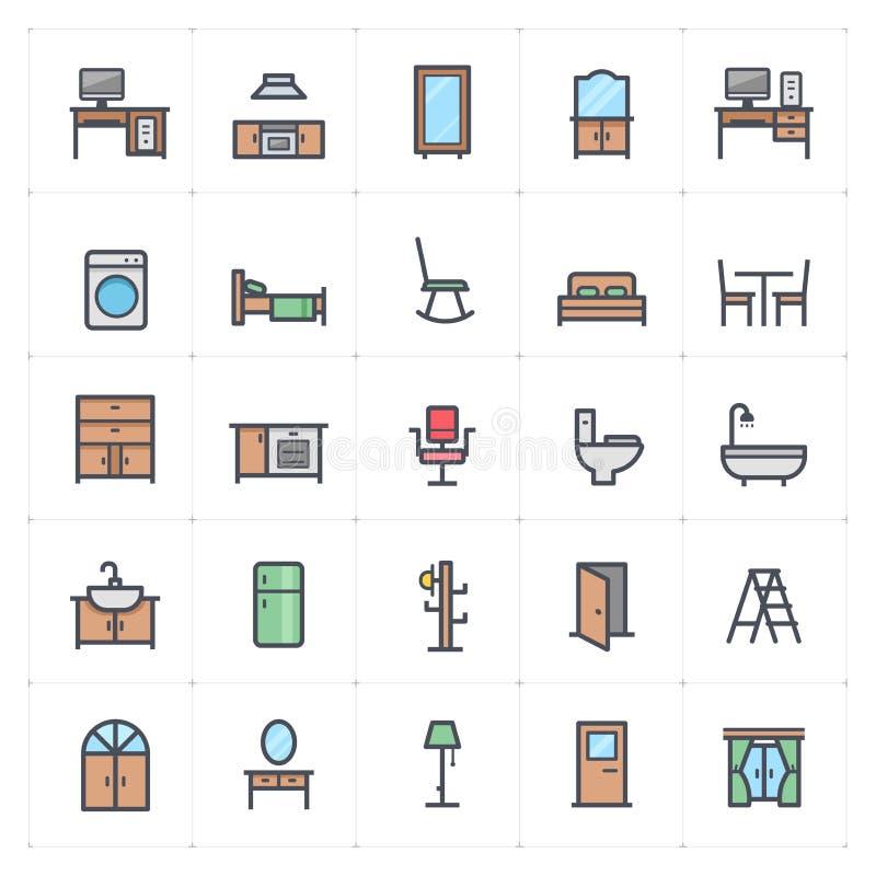 Ensemble de Mini Icon - icône polychrome de meubles illustration stock