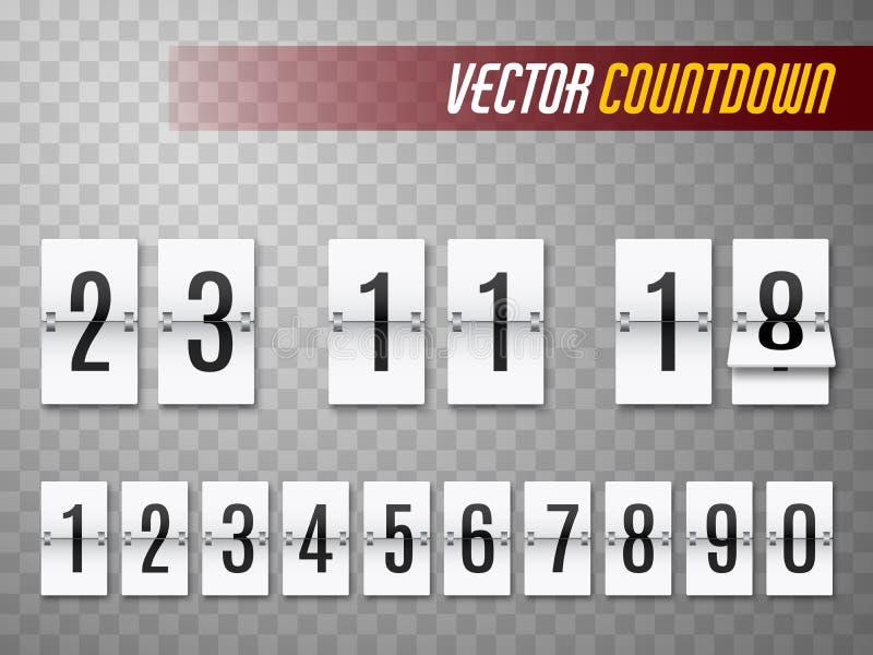 Ensemble de minuterie de compte à rebours Tableau indicateur ou horloge restant de temps de secousse Vecteur illustration stock