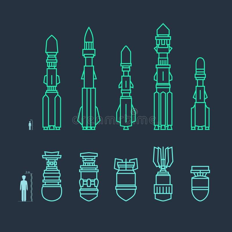 Ensemble de missiles et de munitions militaires illustration de vecteur