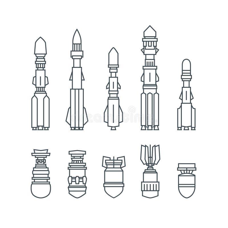 Ensemble de missiles et de munitions militaires illustration stock