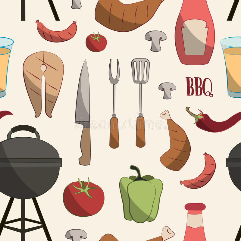 Ensemble de modèle de barbecue illustration libre de droits