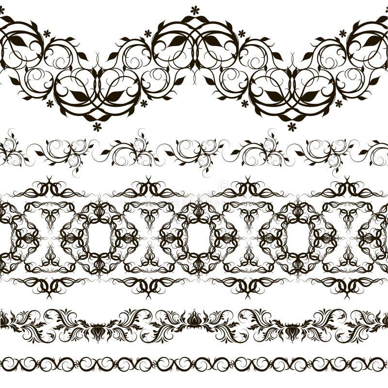 Ensemble de modèle horizontal de dentelle, éléments décoratifs illustration libre de droits