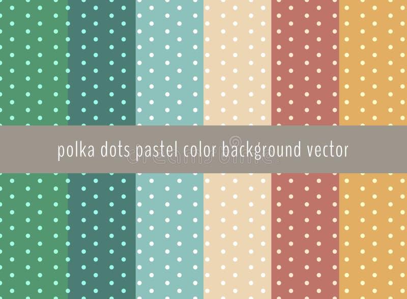 Ensemble de modèle de points de polka sur les pastels verts, jaunes, le bleu et le bro illustration stock