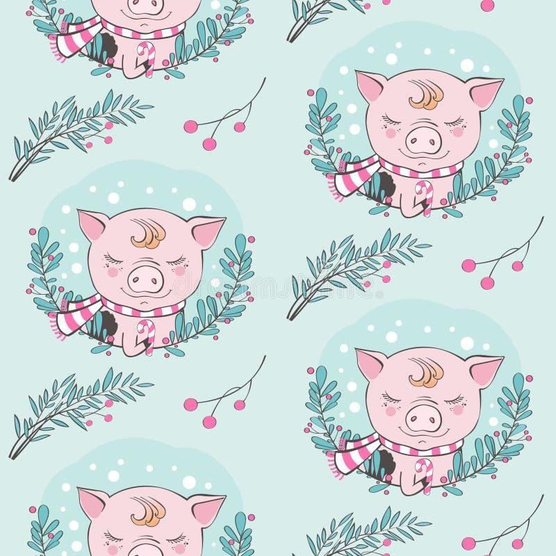 Ensemble de modèle sans couture de caractères de bande dessinée mignonne de porc Symbole chinois des 2019 ans An neuf heureux Por illustration de vecteur