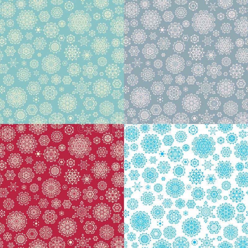 Ensemble de modèle sans couture de 4 flocons de neige Vecteur d'ENV 10 illustration libre de droits
