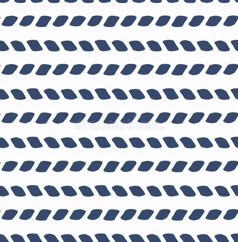 Ensemble de modèle sans couture de vecteur de mer bleue et blanche Éléments de conception d'album Texture tirée par la main abstr illustration libre de droits
