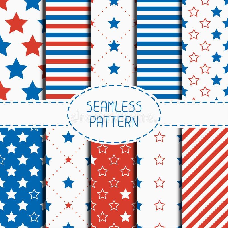 Ensemble de modèle sans couture patriotique géométrique avec illustration stock