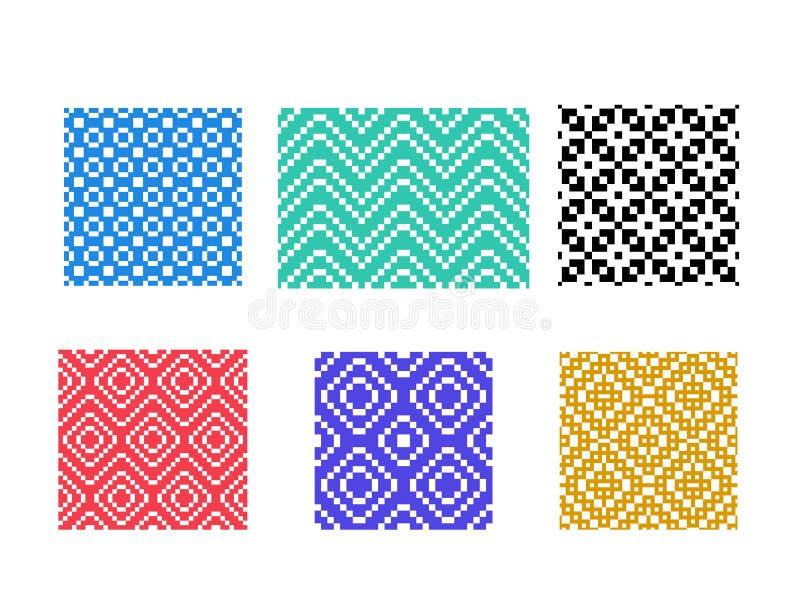 Ensemble de modèle sans couture de pixel sur le blanc, vecteur illustration stock