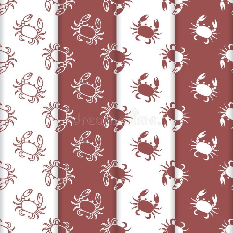 Ensemble de modèle sans couture de 4 vecteurs avec des crabes illustration libre de droits