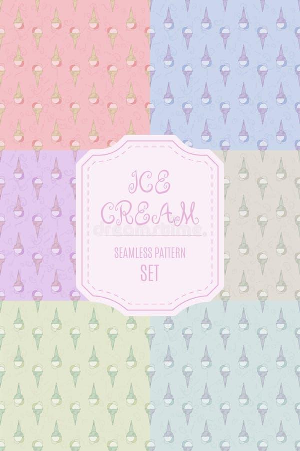 Ensemble de modèle tiré par la main de vintage de crème glacée  Rétro fond de crème glacée de bande dessinée mignonne pour votre  illustration stock