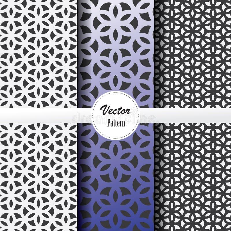 Ensemble de modèle de vecteur de fleur linéaire abstraite de rayure sur la forme d'hexagone dans les tailles et les couleurs illustration de vecteur
