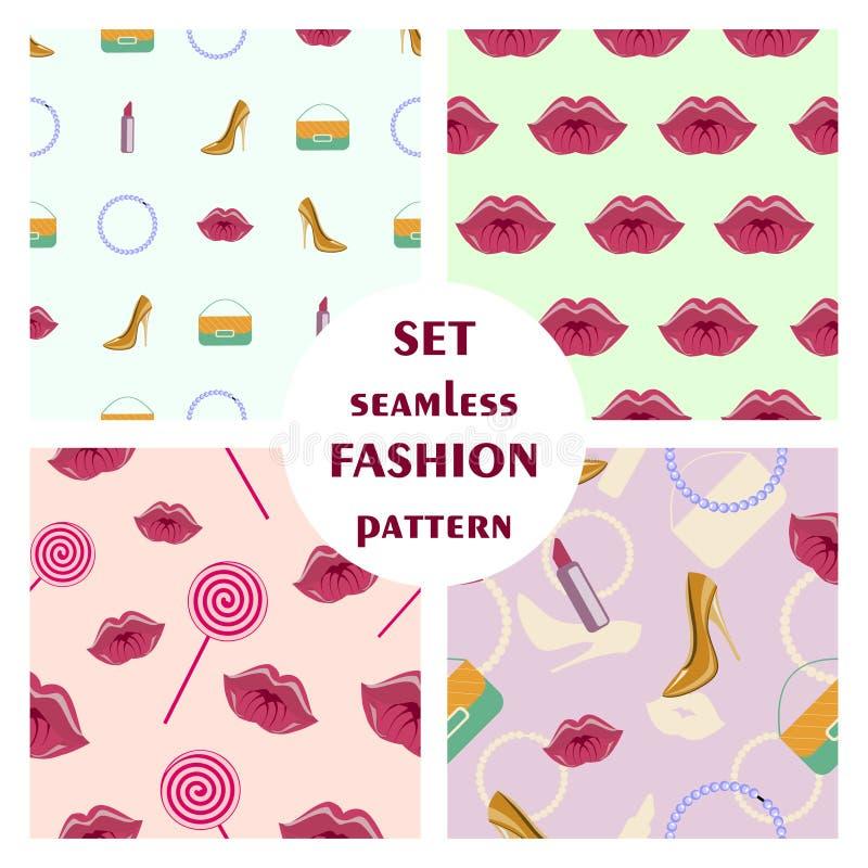 Download Ensemble De Modèles à La Mode Sans Couture De Vecteur Illustration de Vecteur - Illustration du ramassage, talons: 77162565