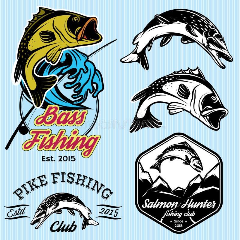 Ensemble de modèles avec des emblèmes pour pêcher avec le brochet, saumon, perche illustration de vecteur