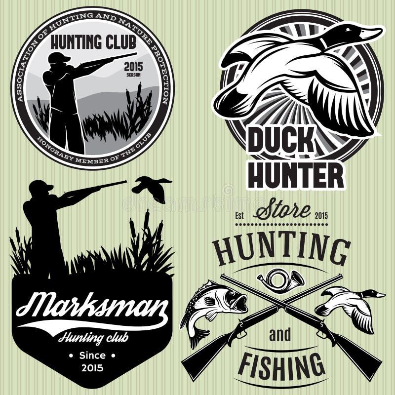 Ensemble de modèles avec le canard, immersion, arme à feu, chasseur pour chasser l'emblème illustration de vecteur