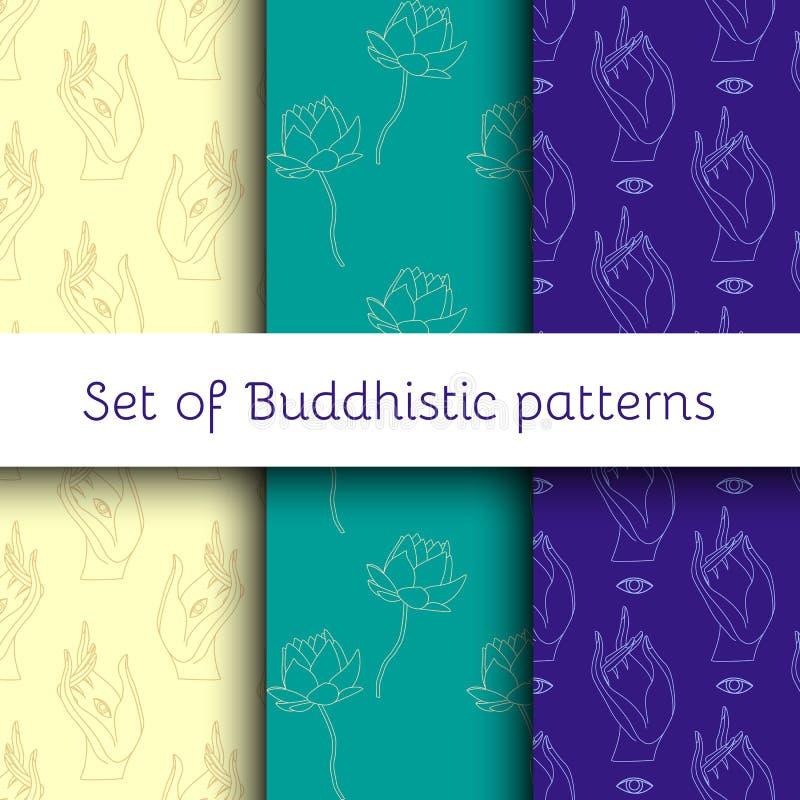 Ensemble de modèles bouddhistes illustration stock
