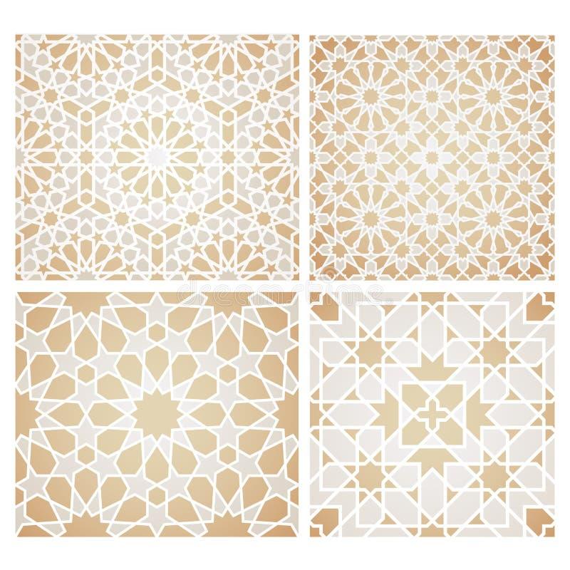 Ensemble de modèles de mosaïque sans couture dans le style oriental illustration stock