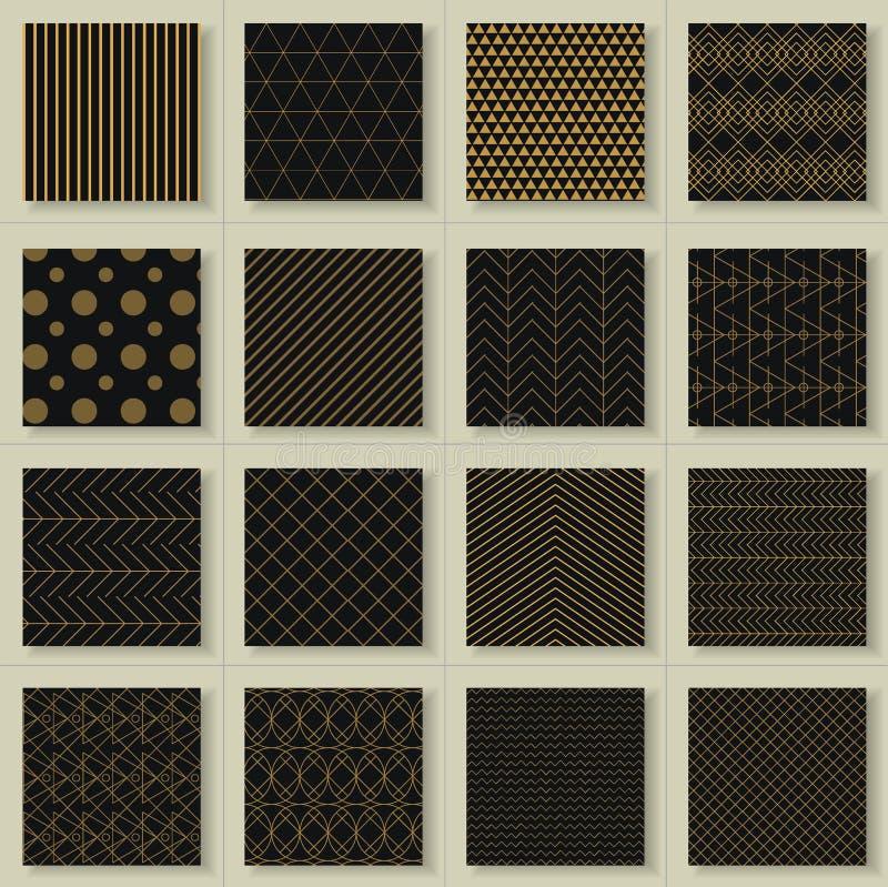 Ensemble de 16 modèles géométriques d'or abstrait illustration de vecteur