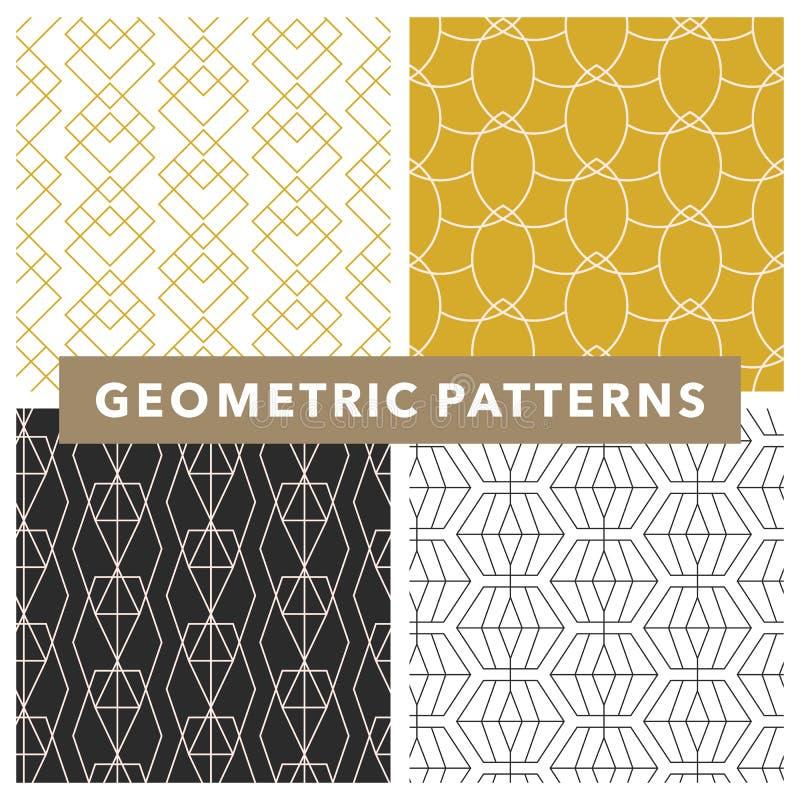 Ensemble de modèles géométriques et transparents à ligne monochrome vectoriel illustration stock