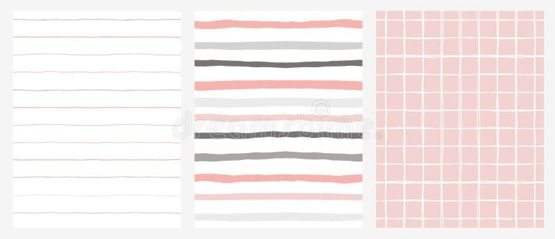 Ensemble de 3 modèles géométriques irréguliers tirés par la main Rayures et grille Conception de gris, rose et blanche illustration stock
