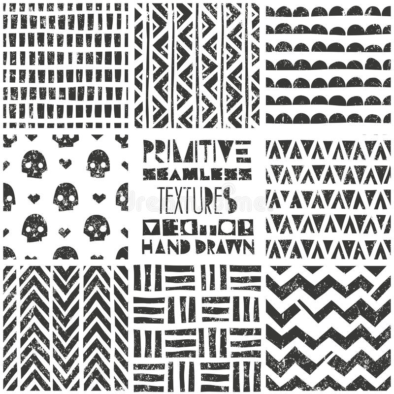 Ensemble de 8 modèles géométriques primitifs Milieux sans couture tribals Copie à la mode élégante Papier peint abstrait moderne illustration stock