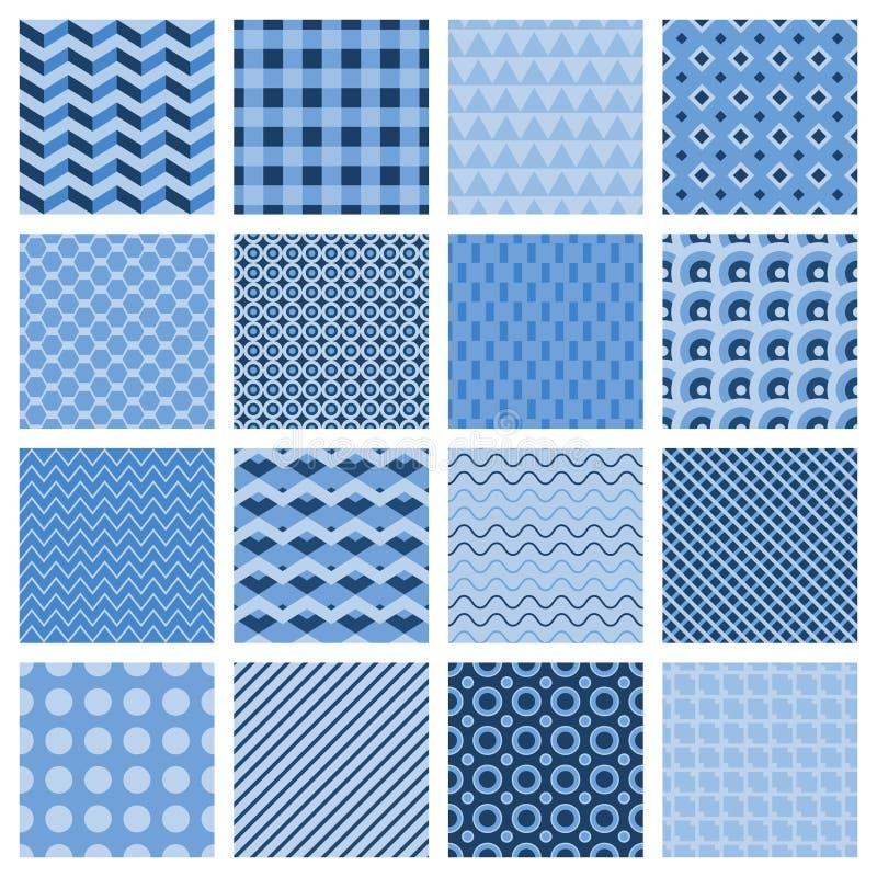 Ensemble de modèles géométriques sans couture dans le bleu illustration de vecteur