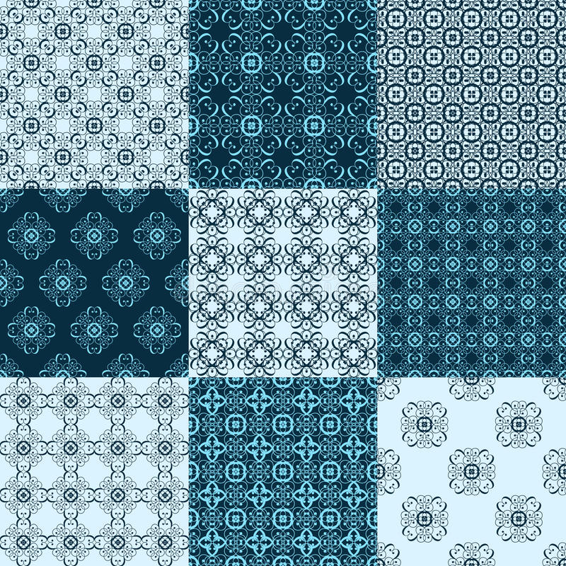 Ensemble de modèles géométriques sans couture de vecteur Textures de vintage d illustration stock