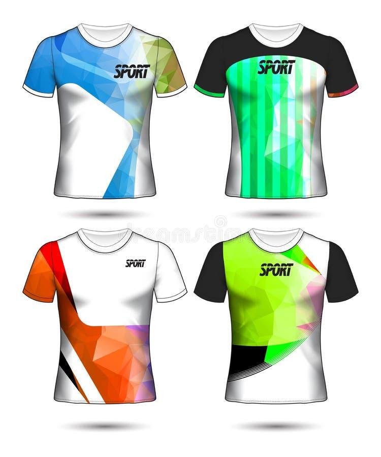 Ensemble de modèles de maillot de football ou de soccer de style t-shirt, concevez l'illustration vectorielle de votre club de fo illustration de vecteur