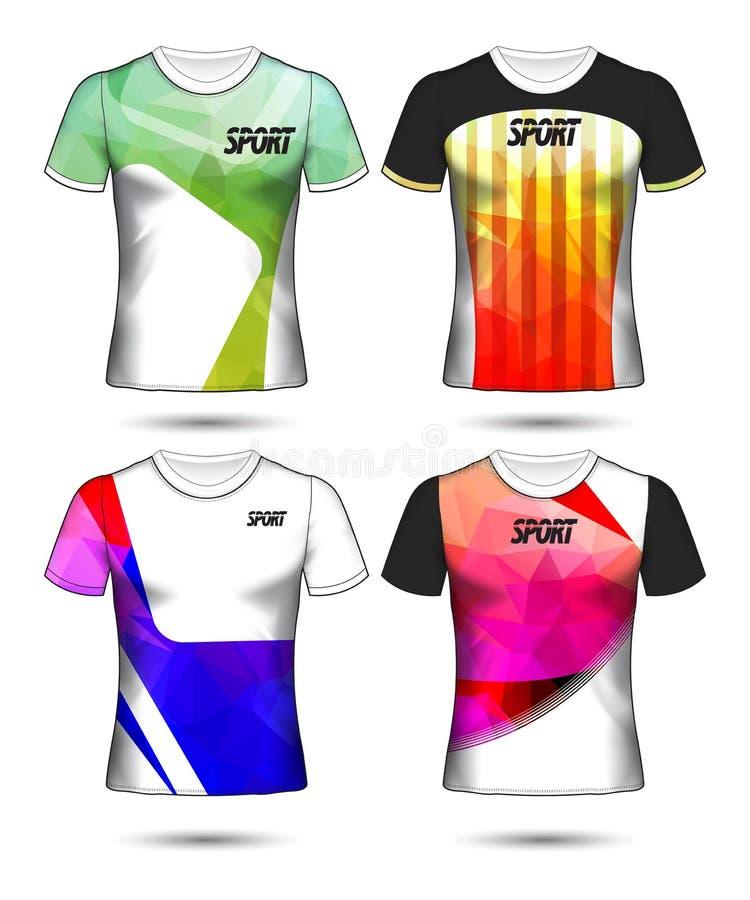 Ensemble de modèles de maillot de football ou de soccer de style t-shirt, concevez l'illustration vectorielle de votre club de fo illustration stock