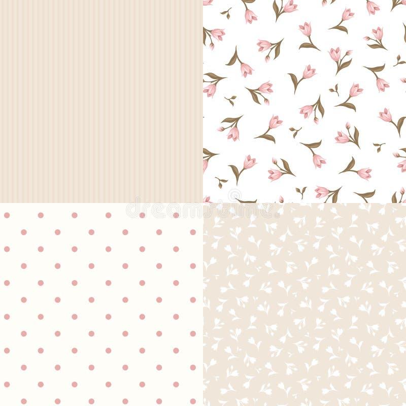 Ensemble de modèles roses et beiges floraux et géométriques sans couture Illustration de vecteur illustration libre de droits