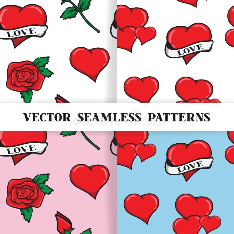 Ensemble de modèles sans couture avec des roses et des coeurs illustration de vecteur