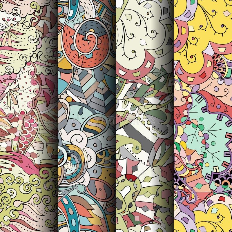 Ensemble de modèles sans couture colorés de filigrane Milieux gribouillants incurvés pour le textile ou impression avec le mehndi image stock