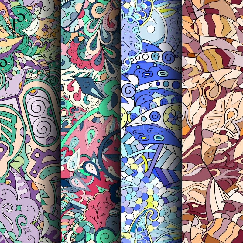 Ensemble de modèles sans couture colorés de filigrane Milieux gribouillants incurvés pour le textile ou impression avec le mehndi images libres de droits