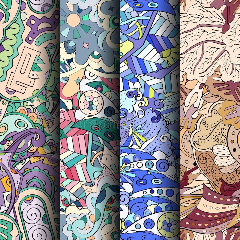 Ensemble de modèles sans couture colorés de filigrane Milieux gribouillants incurvés pour le textile ou impression avec le mehndi photos stock
