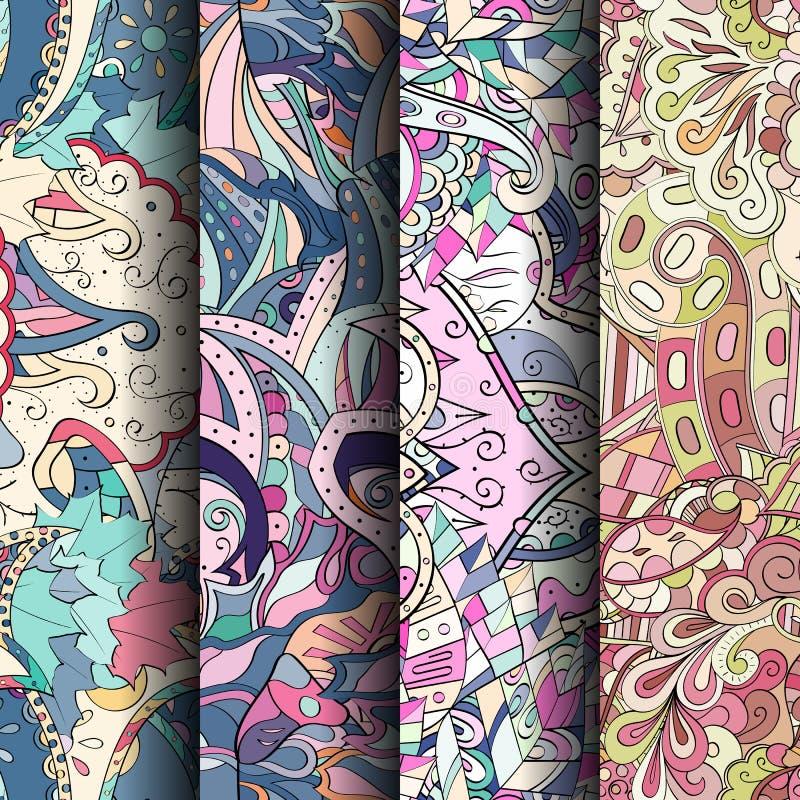 Ensemble de modèles sans couture colorés de filigrane Milieux gribouillants incurvés pour le textile ou impression avec le mehndi photo libre de droits