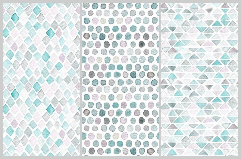 Ensemble de modèles sans couture d'aquarelle Formes géométriques simples illustration libre de droits