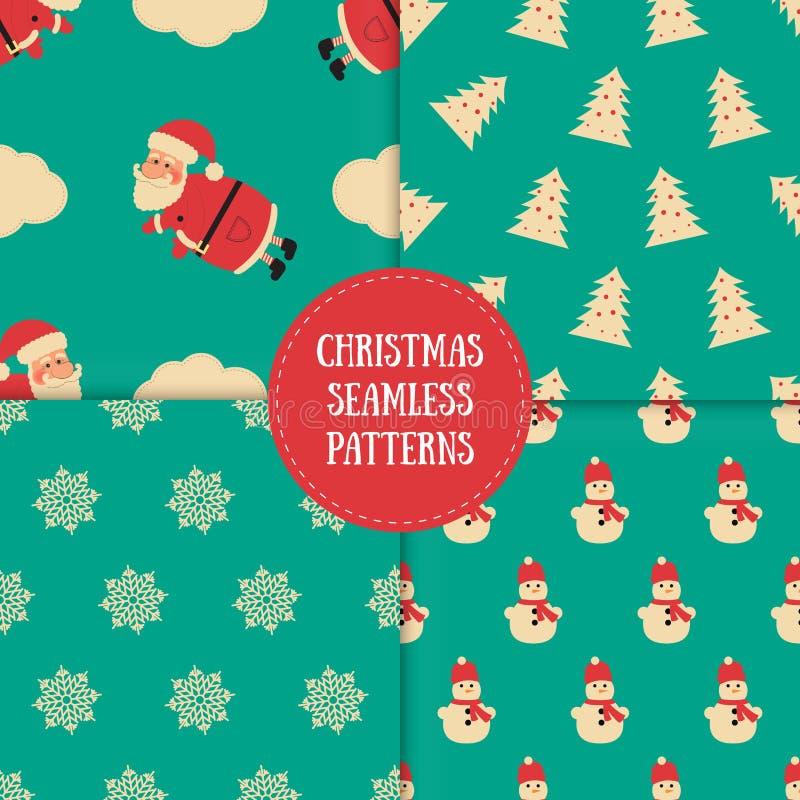 Ensemble de modèles sans couture d'hiver avec les éléments décoratifs Milieux impressionnants de vacances Textures de Noël pour v illustration libre de droits