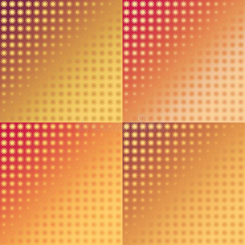 Ensemble de modèles sans couture d'ikat rouge et jaune illustration stock