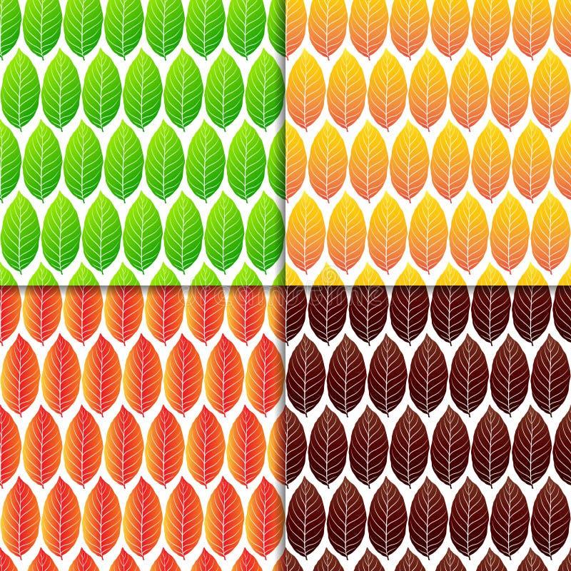 Ensemble de modèles sans couture de feuilles colorées illustration stock