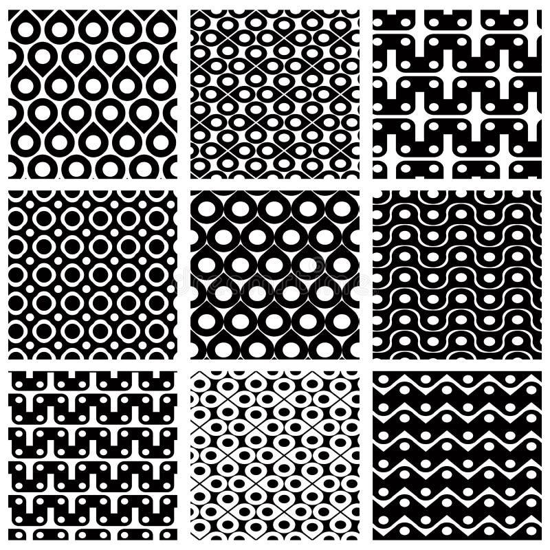 Ensemble de modèles sans couture de grille avec les chiffres géométriques illustration libre de droits