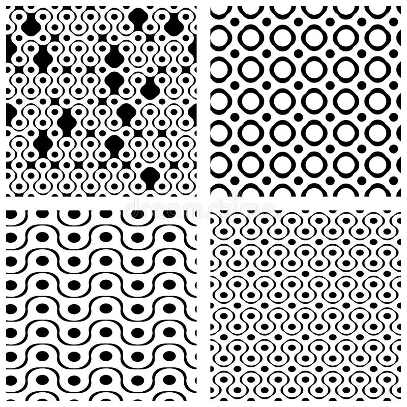 Ensemble de modèles sans couture de grille avec les chiffres géométriques, ornamenta illustration stock