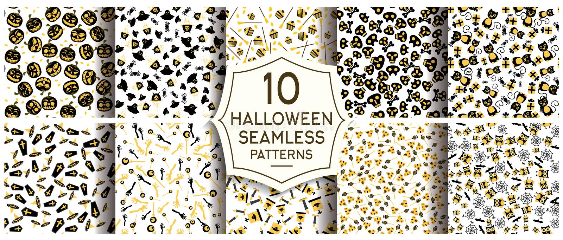 Ensemble de 10 modèles sans couture de Halloween illustration de vecteur