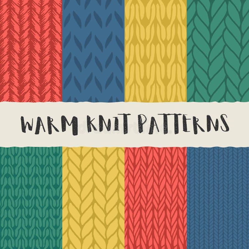 Ensemble de 8 modèles sans couture de knit décoratif illustration stock