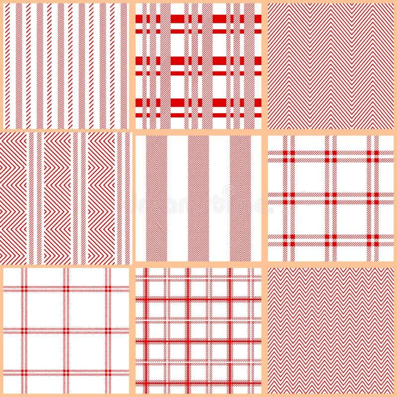 Ensemble de modèles sans couture de textile de coton illustration stock