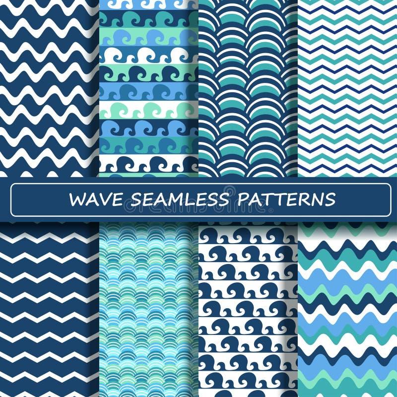 Ensemble de modèles sans couture de vague de mer bleue et blanche illustration libre de droits