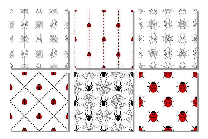 Download Ensemble De Modèles Sans Couture De Vecteur Avec Des Insectes Illustration de Vecteur - Illustration du invitation, tissu: 77159983