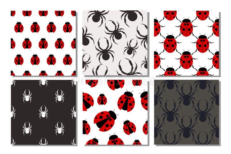 Download Ensemble De Modèles Sans Couture De Vecteur Avec Des Insectes Illustration de Vecteur - Illustration du différent, griffes: 77161090